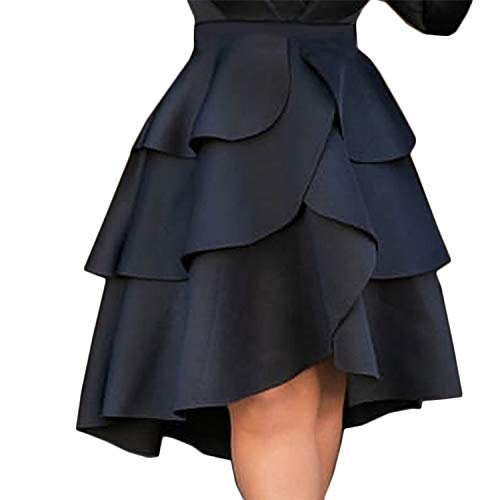 Dai Yao For 11.11 Pro Women Skirt High Waist Layers Ruffles A Line Ball Gown Skirts Party Evening Female Solid Falads Elegant Femme,Black,XXL