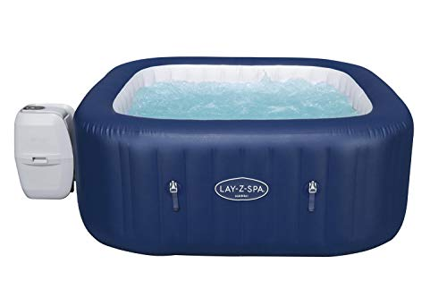 Lay-Z-Spa Hawaii Hot Tub, 140 AirJet Massage System Inflatable Spa with Freeze Shield Technology and Sociable Square Shape, 4-6 Person