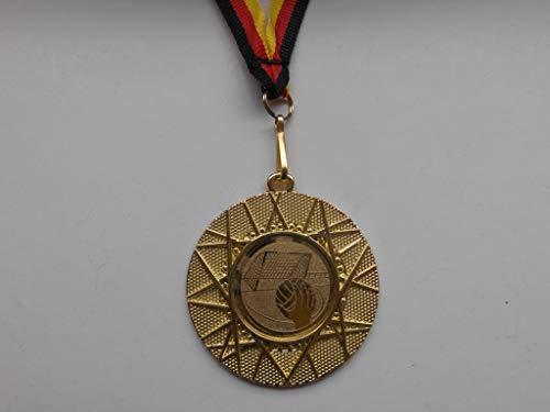 100 x Medaillen aus Metall 50mm - mit einem Emblem, Handball - Logo - inkl. Medaillen Band Farbe: Gold - Kinder - Herren - Emblem 25mm - (e225) -