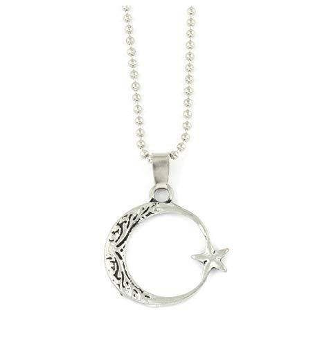 Gök-Türk Halskette Kette für Herren Unisex mit Anhänger Halbmond mit Stern Ay Yildiz - Silber Farbe
