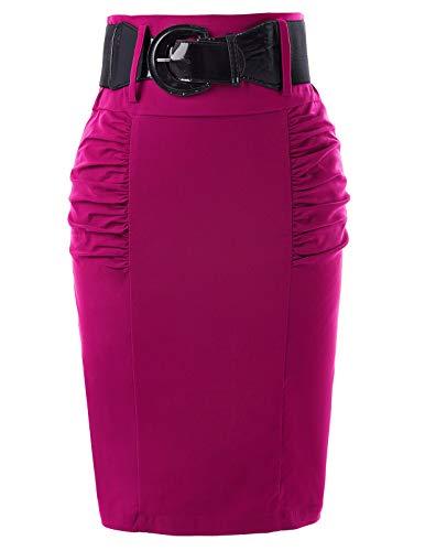 Belle Poque Women's High Waist Stretch Bodycon Petite Pencil Skirt Rose Small