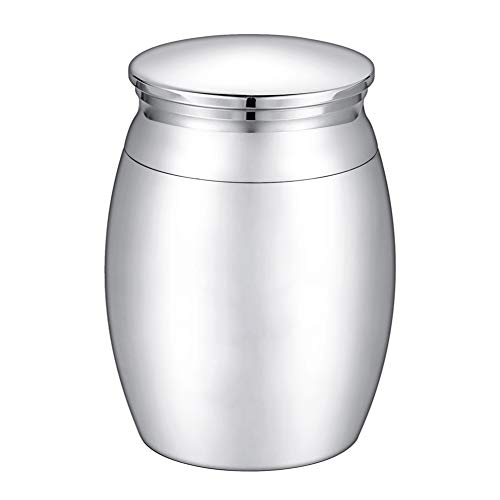 KY Jewelry Kleine Urne für Asche, personalisierbar, Edelstahl, Silber, Engraving