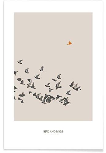 """JUNIQE® Vögel Poster 20x30cm - Design """"Bird and Birds"""" entworfen von Sarah Bühler"""