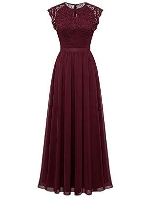 Dressystar Women's Lace Chiffon Bridesmaid Dress Long Formal Evening Party Maxi Dress Cap Sleeve 0055 Burgundy XXL