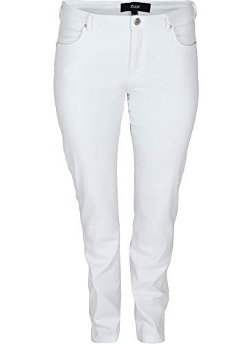 Zizzi Emily Jeans Damen Große Größen Slim Fit Curvy Hip Stretch Jeanshose 42-56, Weiß, 54 / 82 cm