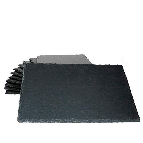 MamboCat - Set di 12 piatti da portata in ardesia, 20 x 30 cm, con piano per sushi nero e bordo grezzo I Cheese Board