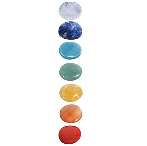 Chakra-Steine Set | 100% echte Edelsteine | 7 Scheibensteine im Baumwollbeutel