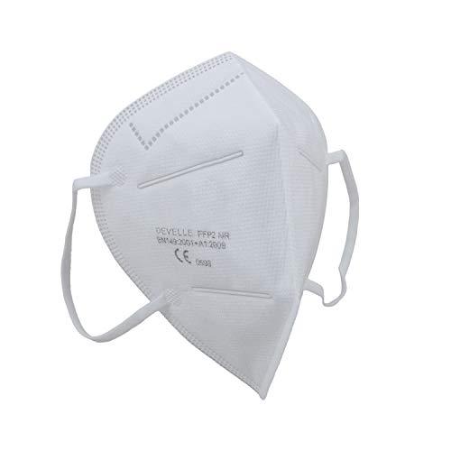 FFP2 Atemschutzmaske 10 Stück Packung CE-Zertifizierte Atem Maske im hygienischen PE-Beutel DEVELLE Schutzmaske