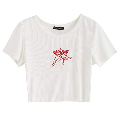 ZAFUL Women's Basic Crop Tops Angel Short Sleeve Scoop Neck T Shirt White-Angel S