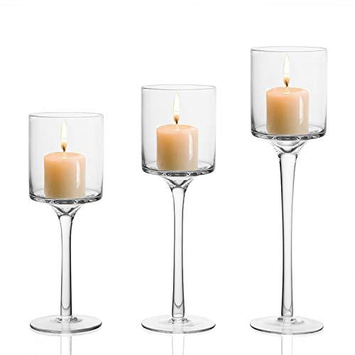 BELLE VOUS Kerzenhalter (3 Stück) - 3 Größen L-26cm, M-23cm, S-20cm Hoch Glas Kerzenständer für Teelichter - Eleganter Teelichthalter, Hochzeit Tischdekoration