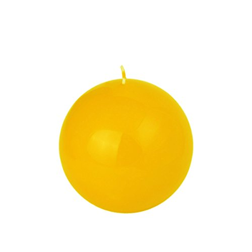 gelbe Kugelkerze 80 mm Durchmesser glänzendes Oberfläche Kerze Kugel