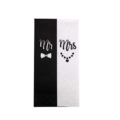 KATINGA Taschentücher Mr & Mrs für Freudentränen auf Hochzeiten (100 Stück)