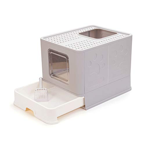 Suhaco Top Entry Cat Litter Box with Lid Foldable Large Kitty Litter Boxes Cats Toilet Including Plastic Scoop Grey