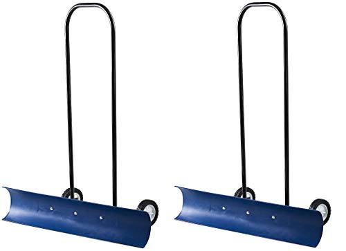 The Snowcaster 30SNC 36-Inch Bi-Directional Wheeled Snow Pusher, Blue (Pack of 2)
