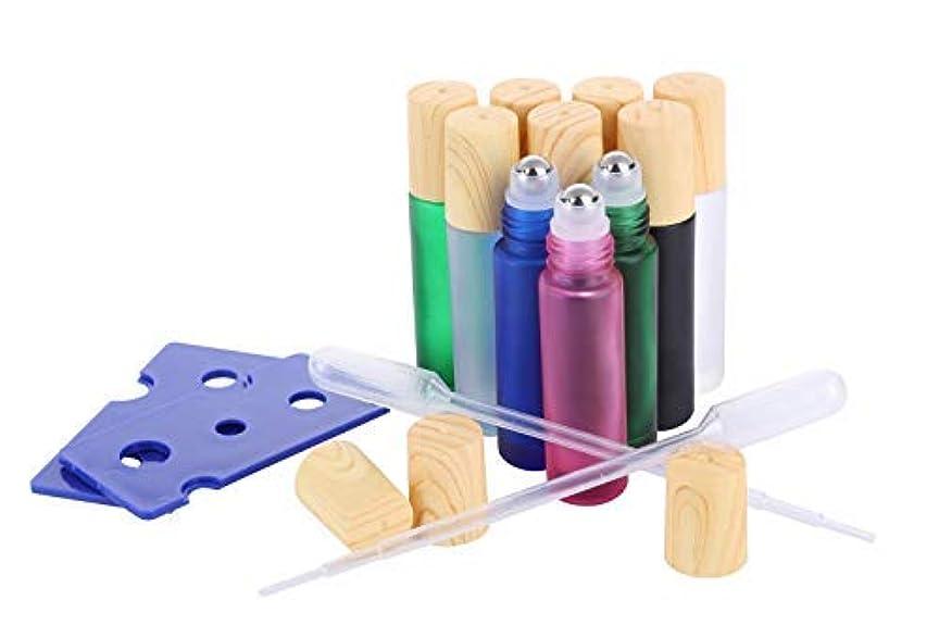 賭けポットメディックEssential Oil Roller Bottles, (10 Pack 5 colors Glass Roller Bottles 10ml, Wood grain Cap, 2 Dropper, 2 Opener)Stainless Steel Roller Balls [並行輸入品]