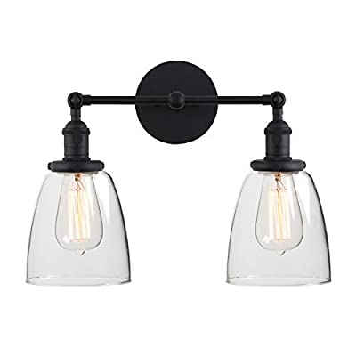 Phansthy 2-Light Vintage Style Industrial Wall Light Sconce Light Fixture with 5.6Inches Oval Cone Clear Glass Shade (Black)