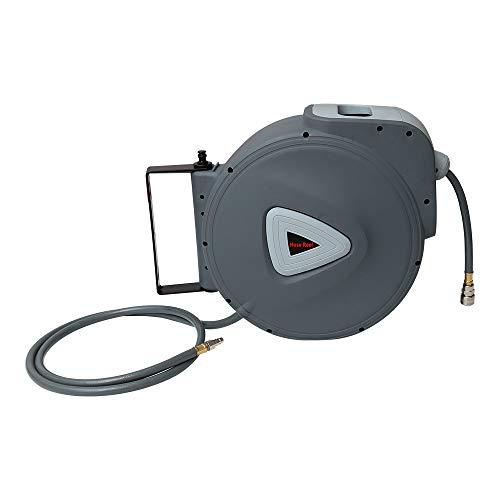 """HENGDA Druckluftschlauch Aufroller automatisch Drucklufttrommel mit 30m PVC-Gewebe Druckluft Schlauchtrommel Schlauchaufroller mit 1/4""""Schnellkupplung und Schlauchstopp + 2m Anschlusschlauch"""