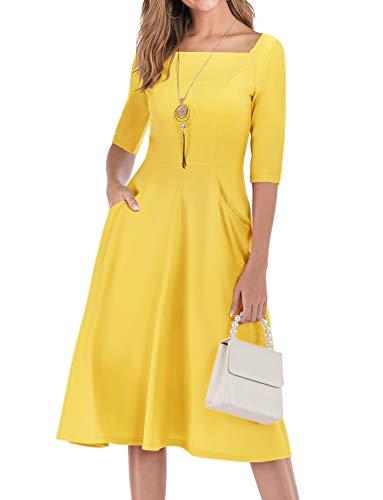 Gardenwed Damen Kleid 1950er Vintage Rockabilly Faltenrock Kleider mit Taschen Midi Cocktailkleid Abendkleider Yellow L
