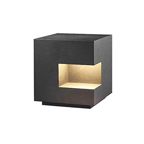 Columna moderna E27 gris claro lámpara de césped con cabeza lámpara de columna, cubo iluminación direccional de metal, valla de pared fachadas columnas, apartamento, terraza, deporte