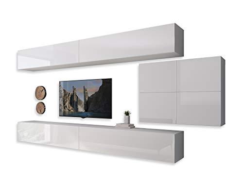 LUK Furniture COLGANTE IV Wohnwand Lowboard Wohnwand Set TV-Schrank Hängeschrank Weiß Hochglanz HG Fernsehschrank mit LED Beleuchtung und Push to Open System Sideboard Wohnzimmer