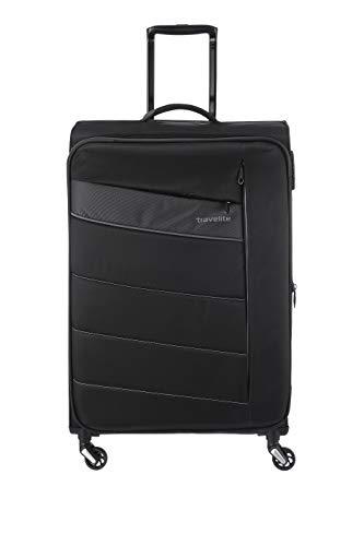 Travelite 4-Rad Weichgepäck Koffer Größe L mit Dehnfalte + TSA Schloss, Gepäck Serie KITE: Extrem leichter Trolley im sportlichen Design, 089949-01, 75 cm, 95 Liter (erweiterbar auf 109 L), schwarz