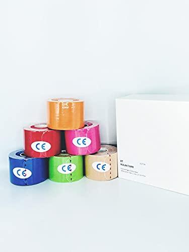 KULAX Kinesiologie Tape   Hochwertiges, Extra Starkes Kinesiotape PreCut, Vorgeschnitten, verschiedene Längen für die optimale Nutzung   6 Rollen   Wasserfest für Sport & Freizeit [5M x 5 CM]