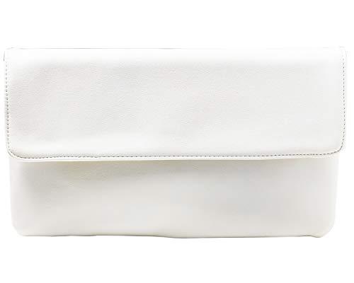 cecilia&bens Elegante Damen Clutch Handtasche   Abendtasche   Schminktasche kleine Tasche 100% Vegan, Farbe:weiß