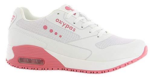 "Oxypas Neu Oxypas Sport, Berufsschuh ""Ela"", antistatischer (ESD) Leder Sneaker für Damen (36, weiß-fuchsia)"