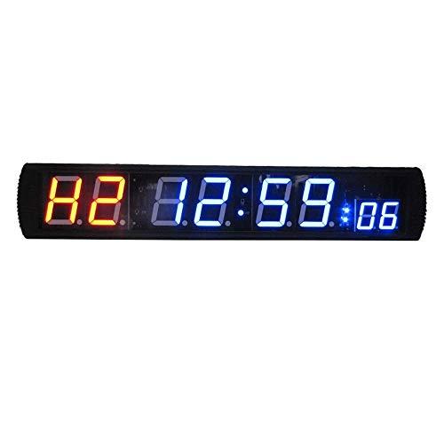 ZhenHe Alarma LED Digital grande relojes Reloj Digital LED Intervalo de temporizador de cuenta atrás hasta cronómetro del reloj con control remoto for Home Gym Fitness (Color: Negro, Tamaño: 86X16X4CM