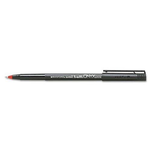uni-ball Products - uni-ball - Onyx Roller Ball Stick Dye-Based Pen, Red Ink, Micro, Dozen - Sold As 1 Dozen - Precision tungsten ball. - Excellent for carbons and multi-part forms. - Easy to hold matte black barrel. - Liquid ink. -