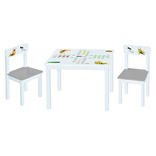 Roba Kinder Sitzgruppe 'Biene Maja', Kindermöbel Set aus 2 Kinderstühlen & 1 Tisch, Sitzgarnitur mit Spielbrett-, Maja- und Willi- Bedruckung