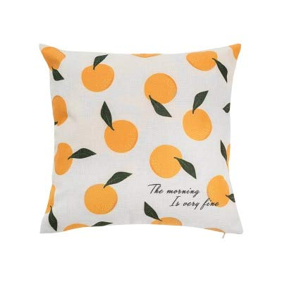 N / A Funda de cojín para el hogar Funda de Almohada Decorativa Cute Fruits Peach Lemon Cherry Orange Fundas de Almohada cuadradas45x45cm Sofá Cama 45CM