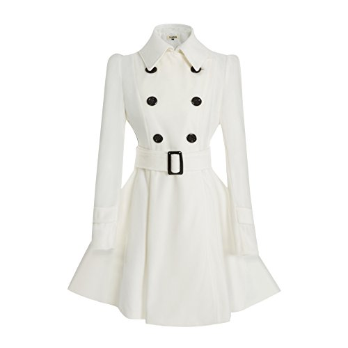 ForeMode Women Swing Double Breasted Wool Coat with Belt Buckle Spring Mid-Long Long Sleeve Lapel Dresses Outwear(White L)