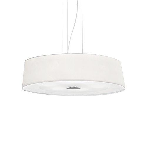 L'Aquila Design Arredamenti IDEAL LUX lustre Hilton blanc abat-jour en tissu suspension séjour SP6