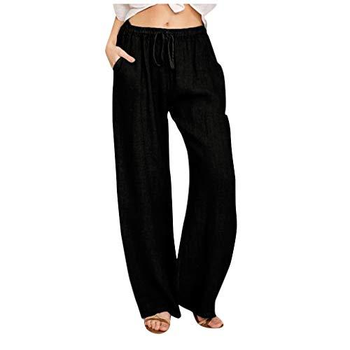 WGNNAA Damen Leinenhose Sommer Hosen Bequem Freizeithose mit 2 Taschen und Kordelzug Einfarbig Hose mit weitem Bein Größe 32-42