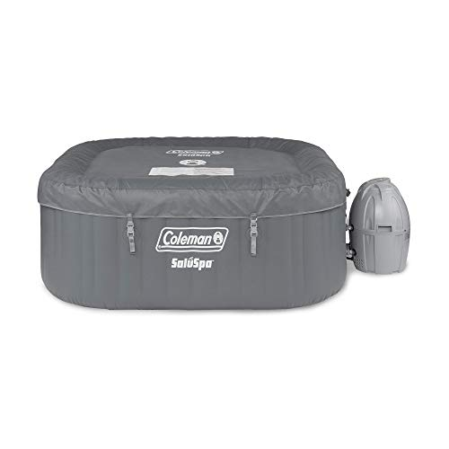 Coleman 15442-BW SaluSpa 4 Person Portable Inflatable Outdoor Square Hot Tub Spa with 114 Air Jets, Tub Cover, Pump, Chemical Floater and 2 Filter Cartridges, Gray