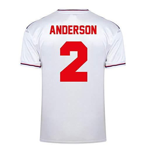 """Unbekannt Englische Nationalmannschaft - Herren Trikot WM 1982 - Heim- & Auswärtstrikot - Weiß - Aufschrift """"Anderson 2"""" - M"""