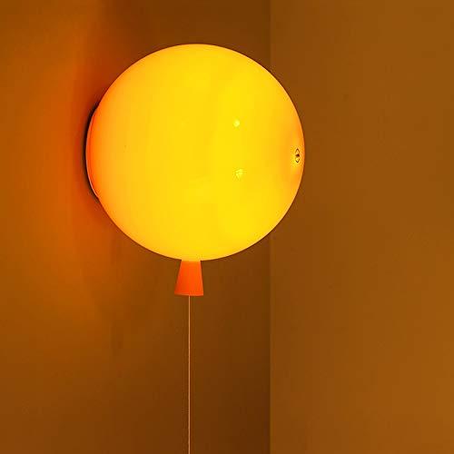 LED Acryl wandlampen, Modern Creative Ronde Balloon Children's Light Huis Opknoping Lamp Boy Girl Slaapkamer Gang Eettafel Lighting Decoratie wandkandelaar (Color : Yellow)
