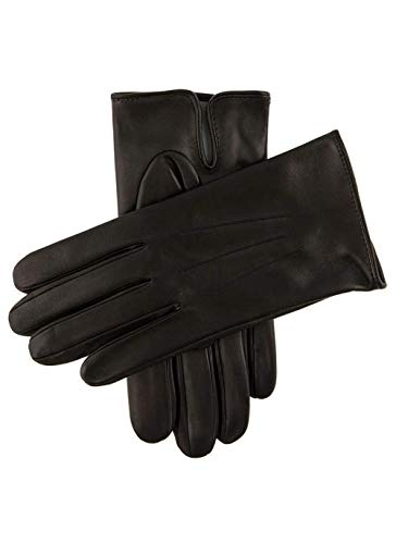 Dents Berkeley Men's Silk Lined Leather Gloves BLACK (grey) 11