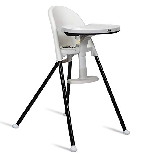 INFANS High Chair Folding, 3 in 1 Convertible Highchair with Detachable Double Tray, 3-Point Harness, Adjustable Footrest, Non-Slip Feet, Adjustable Legs for Baby & Toddler (6 Months & up) (White)