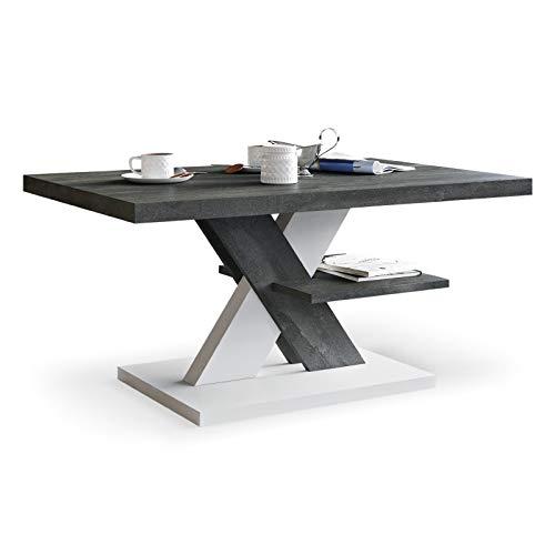Viosimc Mesa de centro moderna para sala de estar, mesa central para té y café con estante de almacenamiento, mesa auxiliar para salón, hogar, oficina (acero_blanco)