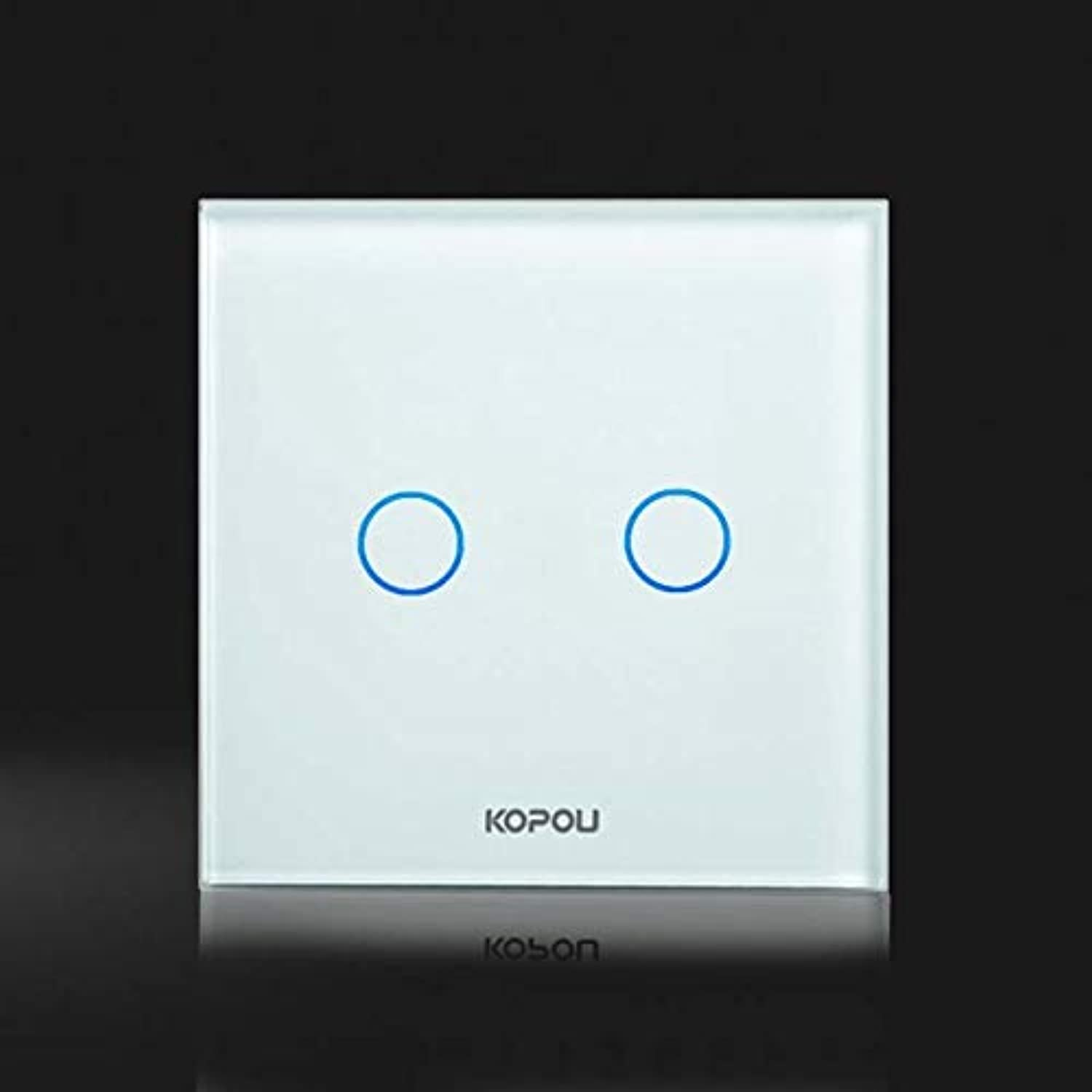 Touch Switch, EU Standard Dimmer Switch,1 Gang 1 Way,Wall Switch, Crystal Glass Panel,KT005EU  (color  Double dimmer)
