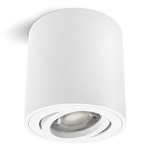 linovum CORI weißer LED Aufbaustrahler schwenkbar & rund - mit LED GU10 Leuchtmittel 6W warmweiß 230V - Aufbau Deckenstrahler