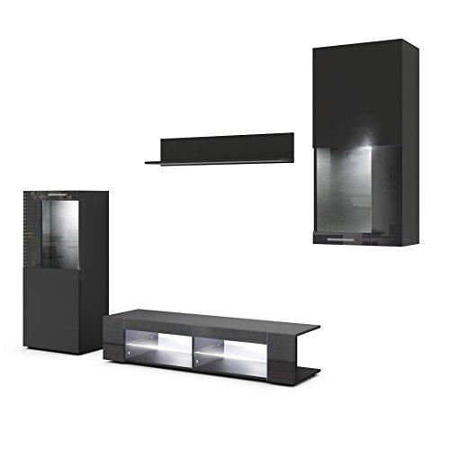 Vladon Wohnwand Anbauwand Movie, Korpus in Schwarz matt/Fronten in Schwarz matt und Schwarz Hochglanz mit weißer LED Beleuchtung