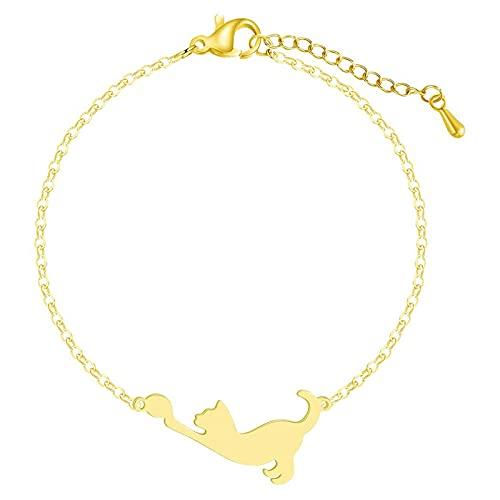 Acero inoxidable pulsera brazalete de animal para las pulseras del encanto mujeres chicas amante doméstico gato compromiso joyería amistad regalo cumpleaños la mamá, mujer, novia ( Color : A )