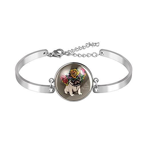 Pulsera, brazalete de acero inoxidable brazalete de regalo de joyería puño pulido estilo de caja de regalo de moda Hippie Pug cachorro flor floral guirnalda floral para hombres mujeres