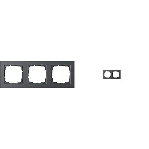 Gira 21323 Rahmen E2 3-fach anthrazit, 021323 & 021223 Abdeckrahmen 2 fach Gira E2 , anthrazit