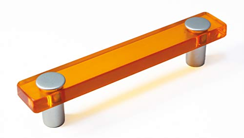LGM-Beschlag Möbelgriff Burgthann, Kinder, Kunststoff Glaseffekt - orange, Kunststoff metallisiert - weißaluminium, 126 mm x 26 mm x 20 mm, LA 96 mm, 51040