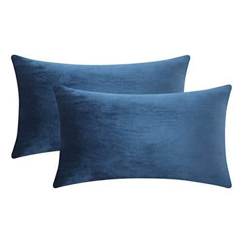 Home Brilliant Velvet Small Pillow Covers Cushion Cover Pillowcases Decorative Lumbar Pillows for Sofa Chair, Set of 2, 12 x 20 inch (30x50cm), Dark Blue