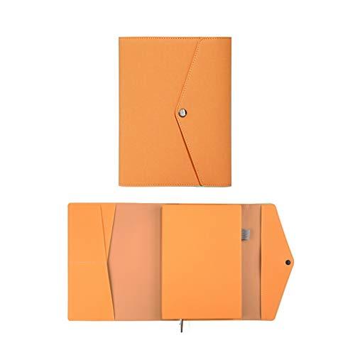 SFF Cuadernos de Oficina Cuaderno de Conjunto clásico Estilo Simple Tapa Blanda extraíble Cierre elástico de Cuero Grueso Forrado Paperage Duro de la Cubierta Cuaderno de Tapa Blanda (Color : Orange)